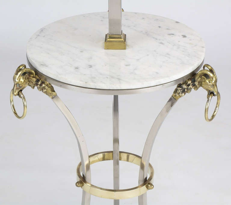 Plated Nickel & Brass Rams Head & Hooved Floor Lamp with Carrera Marble Table Top For Sale