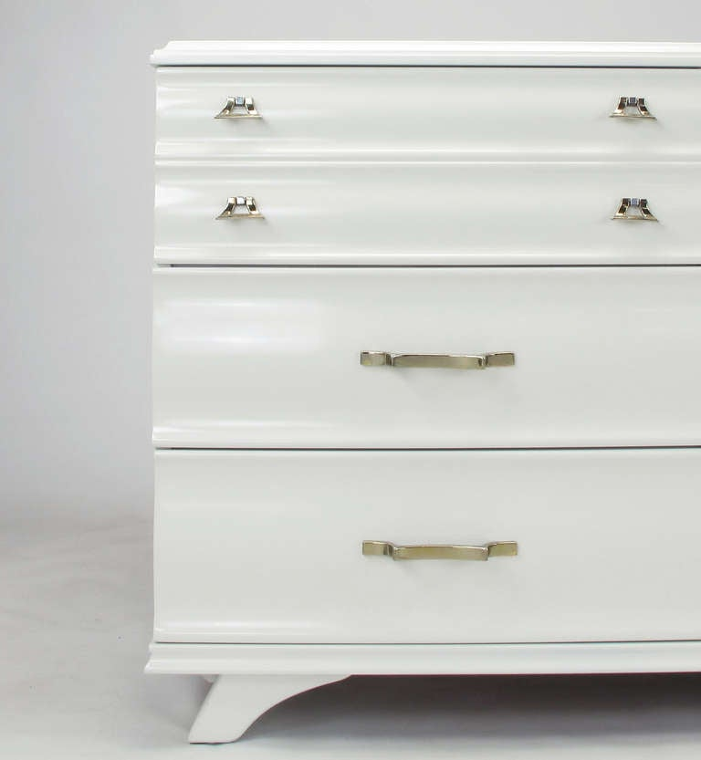 White Lacquer Fluted Front Dresser by Kling Furniture For Sale 2