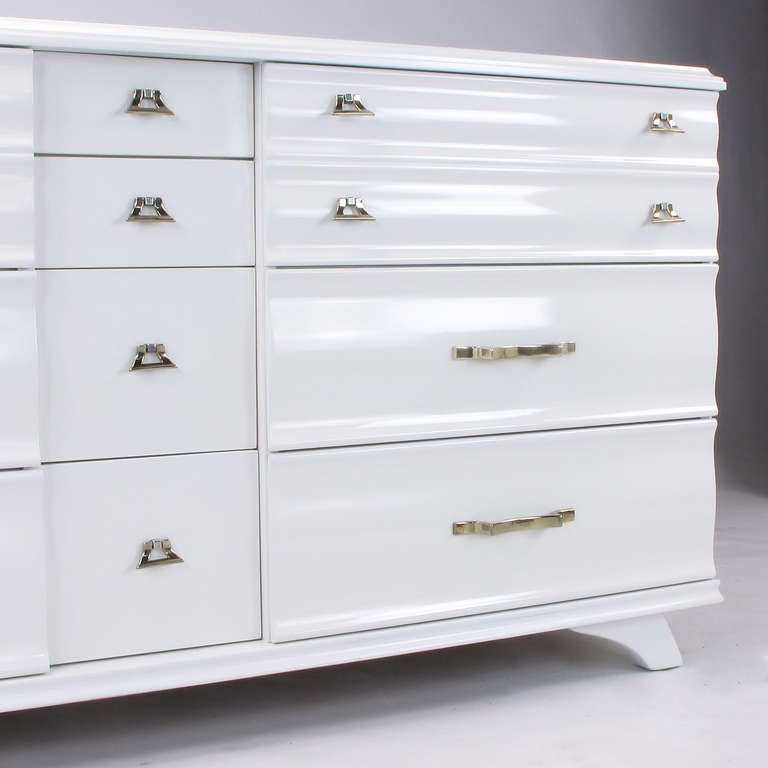 White Lacquer Fluted Front Dresser by Kling Furniture For Sale 1