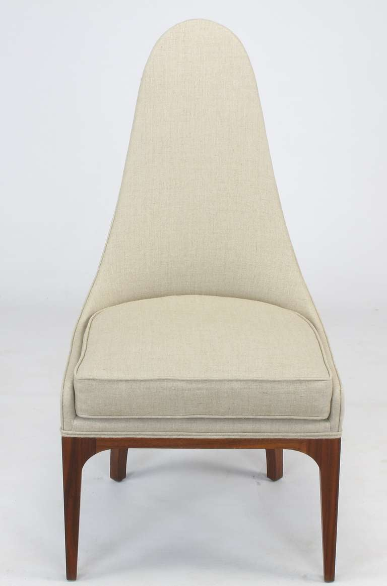 American Set of Four Rosewood and Linen Spoon-Back Dining Chairs For Sale
