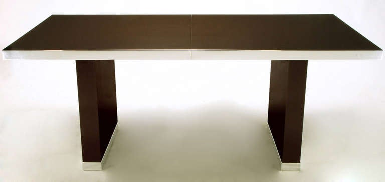 Pierre Cardin Chrome and Dark Chocolate Brown Dining Table In Good Condition For Sale In Chicago, IL