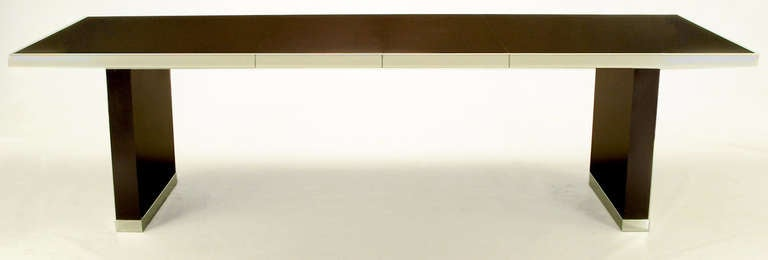 Pierre Cardin Chrome and Dark Chocolate Brown Dining Table For Sale 1