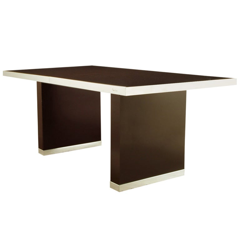pierre cardin chrome and dark chocolate brown dining table for sale at 1stdibs. Black Bedroom Furniture Sets. Home Design Ideas