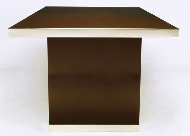 Late 20th Century Pierre Cardin Chrome and Dark Chocolate Brown Dining Table For Sale