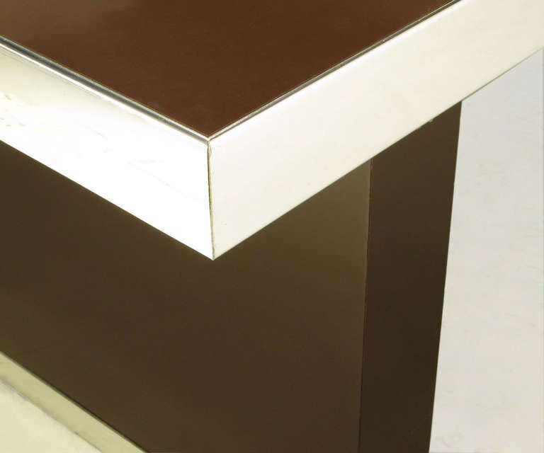 Pierre Cardin Chrome and Dark Chocolate Brown Dining Table For Sale 2