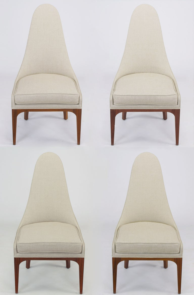 Set of Four Rosewood and Linen Spoon-Back Dining Chairs For Sale