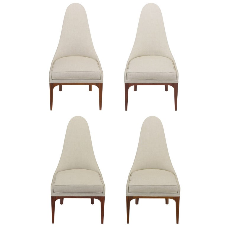 Set of Four Rosewood and Linen Spoon-Back Dining Chairs