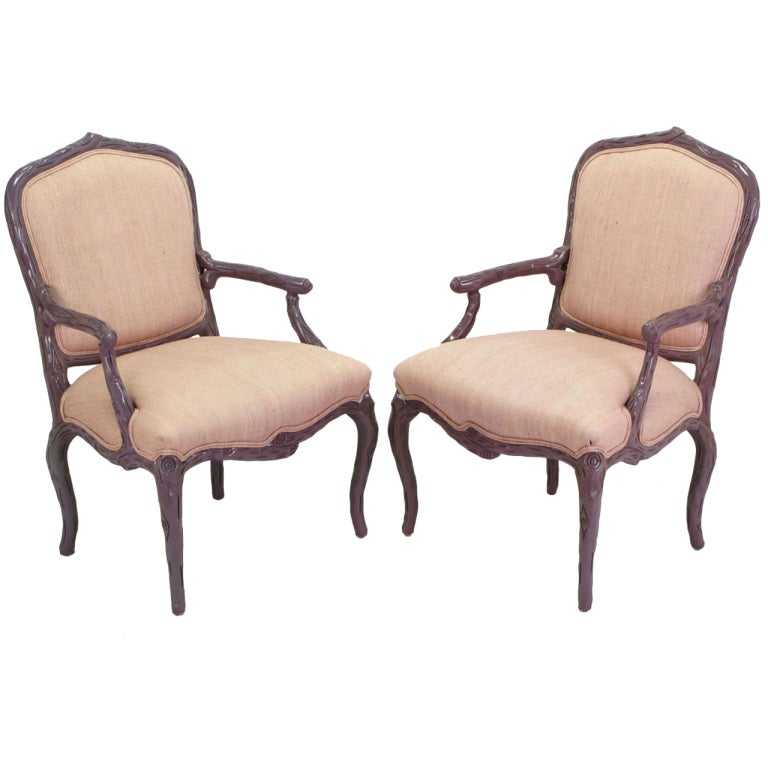 Pair of Dark Lavender Faux Bois Armchairs and Ottoman in Puce Silk For Sale