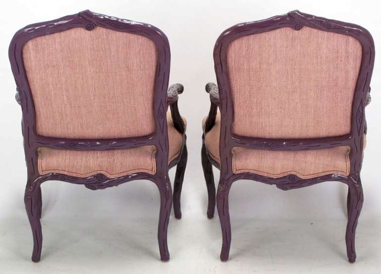 Late 20th Century Pair of Dark Lavender Faux Bois Armchairs and Ottoman in Puce Silk For Sale