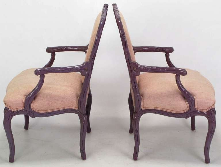 Pair of Dark Lavender Faux Bois Armchairs and Ottoman in Puce Silk In Good Condition For Sale In Chicago, IL