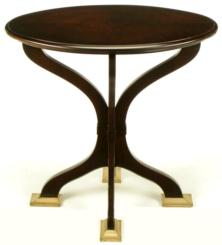 Oval Cherrywood and Bronze Parquetry Top Art Nouveau Centre Table For Sale