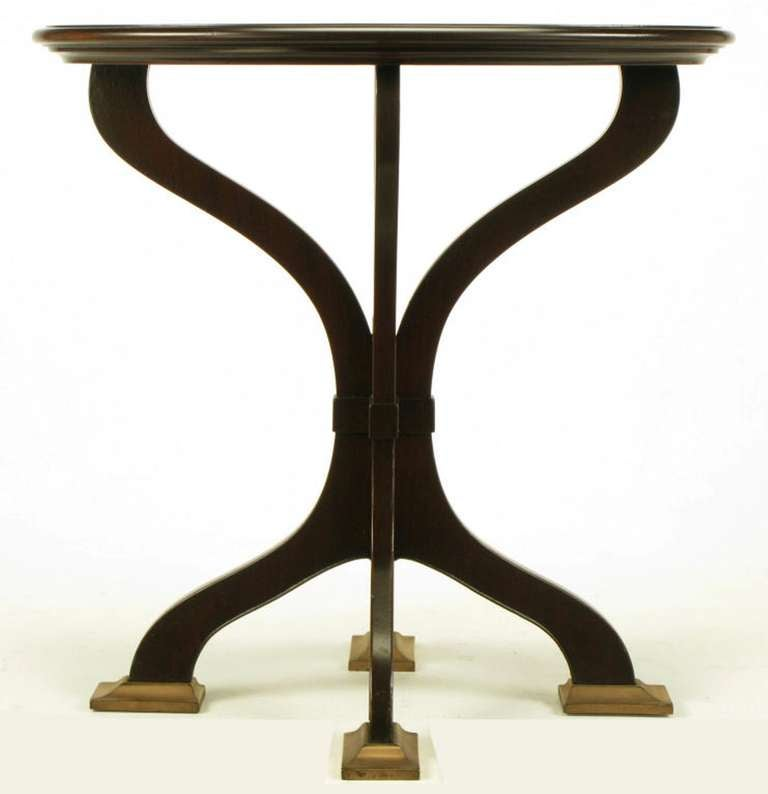 American Oval Cherrywood and Bronze Parquetry Top Art Nouveau Centre Table For Sale