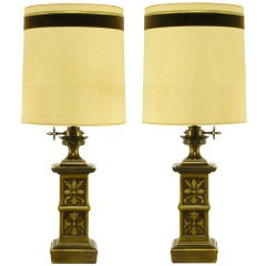 Pair of Heavy Brass English Arts & Crafts Style Table Lamps