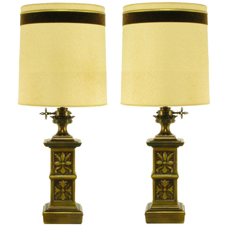 Pair Heavy Brass English Arts & Crafts Style Table Lamps
