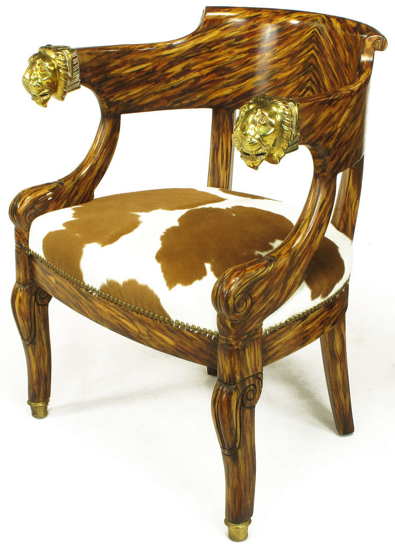Pair Trompe L Oeil Rosewood Chairs With Lion Head Arms At