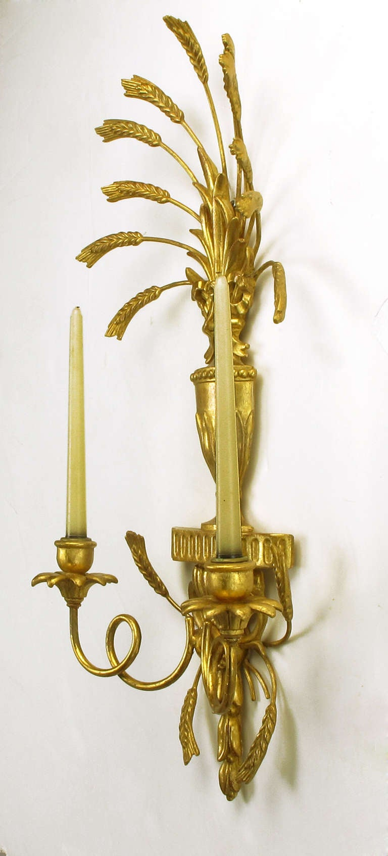 Pair of Italian Tole Gilt Metal and Resin Candelabra Wall Sconces For Sale 2