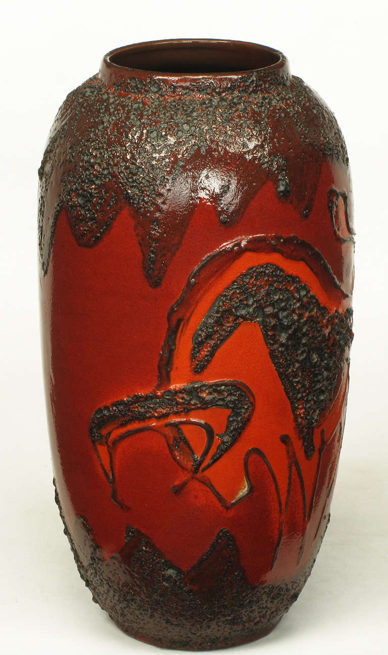 Scheruich Ceramic Tall Lava Glaze Vase with Relief Bull and Volcanos In Good Condition For Sale In Chicago, IL