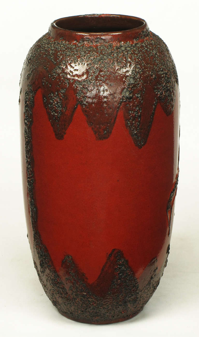 Scheruich Ceramic Tall Lava Glaze Vase with Relief Bull and Volcanos For Sale 1