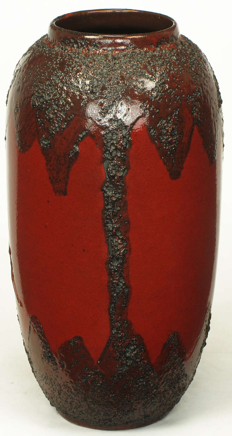 20th Century Scheruich Ceramic Tall Lava Glaze Vase with Relief Bull and Volcanos For Sale