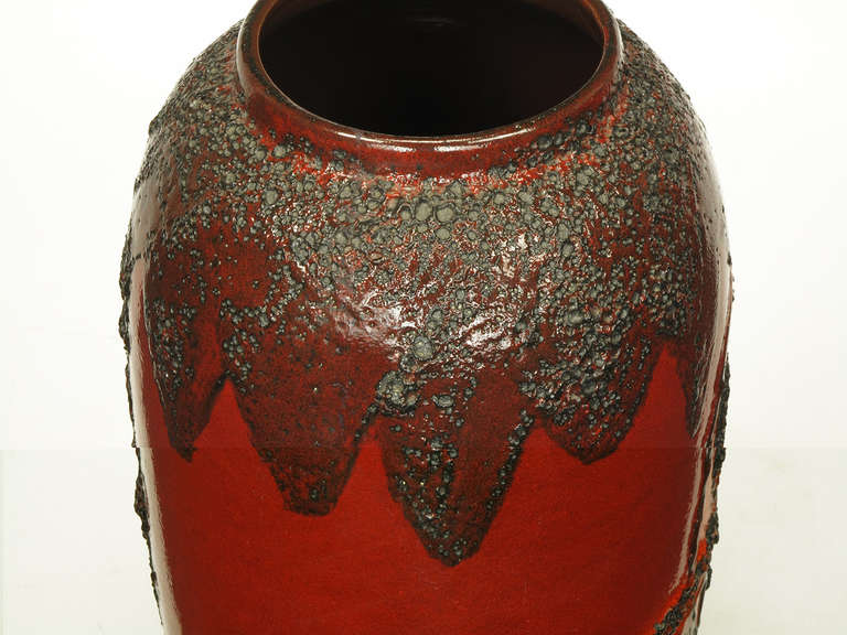 Scheruich Ceramic Tall Lava Glaze Vase with Relief Bull and Volcanos For Sale 5