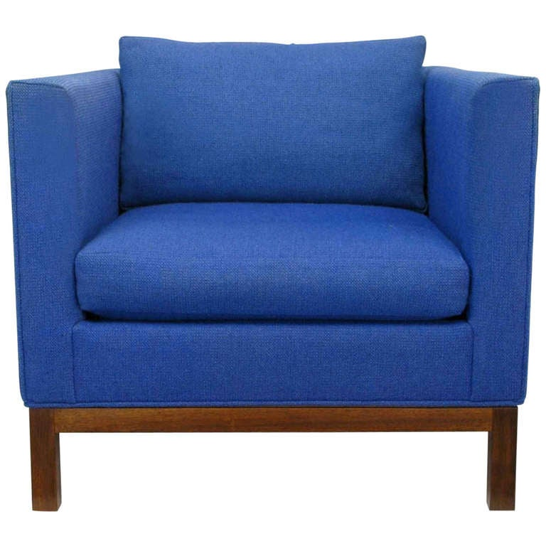 Dunbar Cube Club Chair in Original Blue Wool and Walnut 1