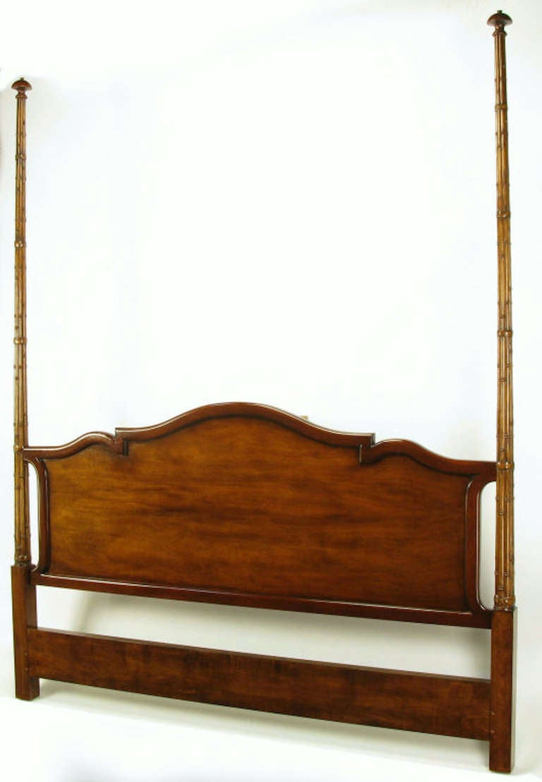 Tall Mahogany King Bed With Reeded Bamboo Posts For Sale At