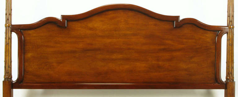 American Tall Mahogany King Bed with Reeded Bamboo Posts For Sale
