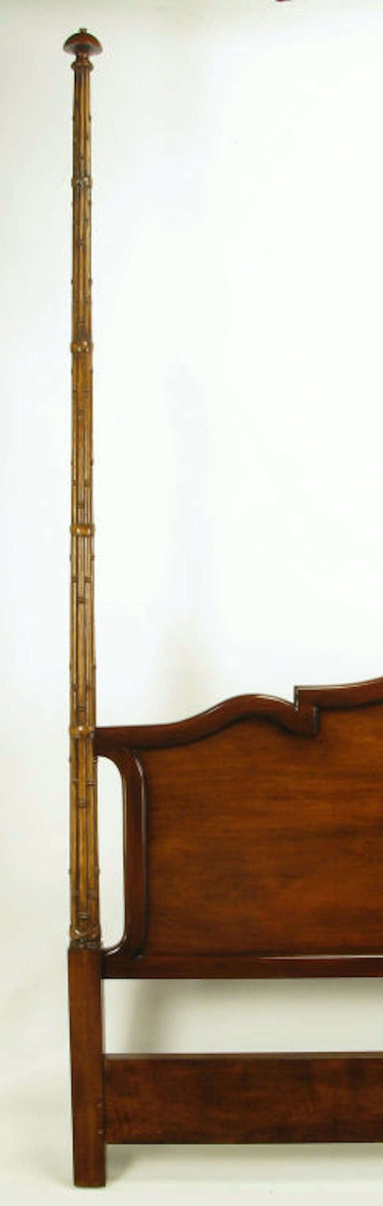Tall Mahogany King Bed with Reeded Bamboo Posts For Sale 1