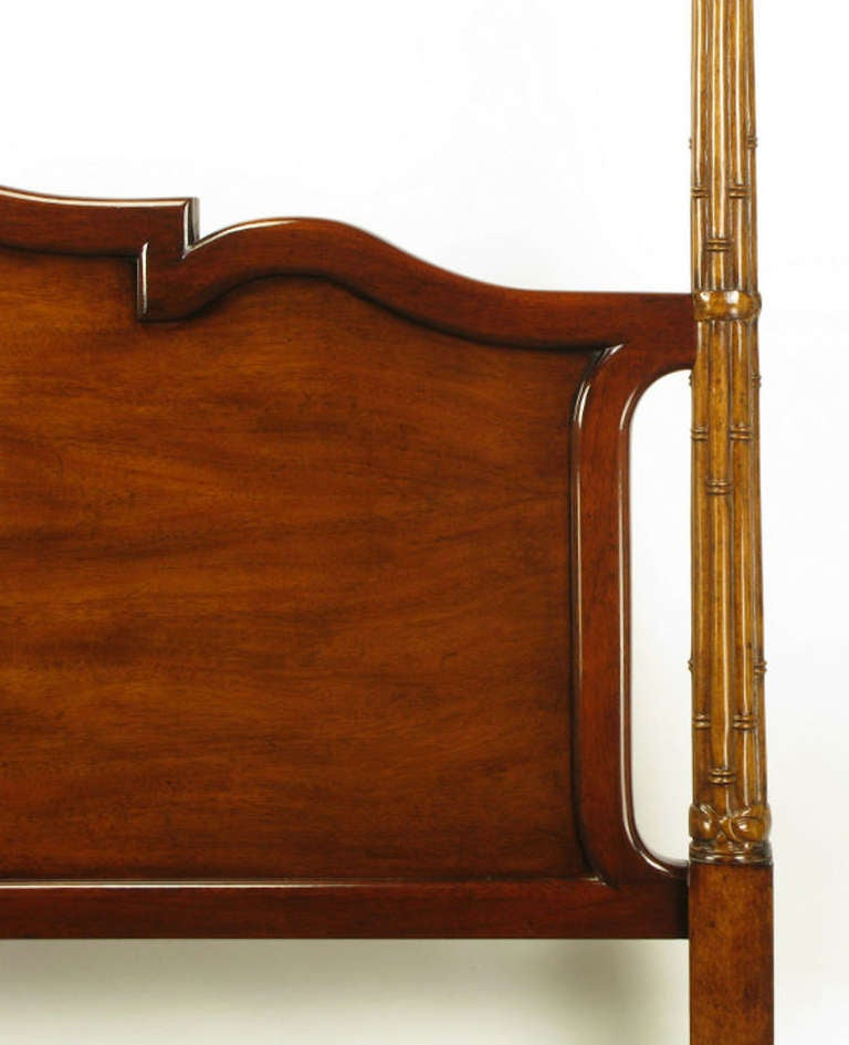 Tall Mahogany King Bed with Reeded Bamboo Posts In Excellent Condition For Sale In Chicago, IL