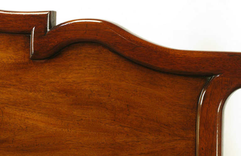 Mid-20th Century Tall Mahogany King Bed with Reeded Bamboo Posts For Sale