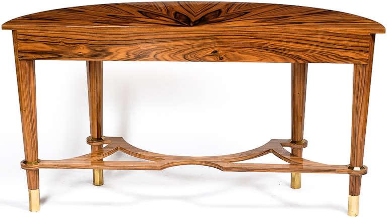 American Pair of Michael De Santis Brazilian Rosewood Demilune Consoles For Sale