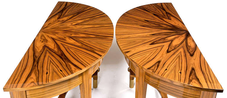 Pair of Michael De Santis Brazilian Rosewood Demilune Consoles For Sale 2