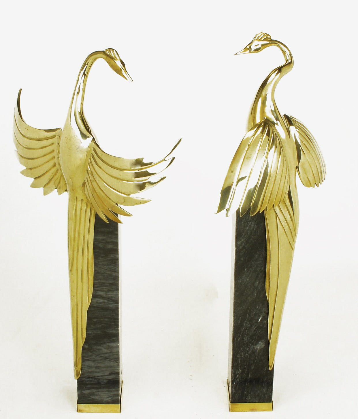 Pair of Marble Pedestal and Brass Crane Sculptures For Sale 5