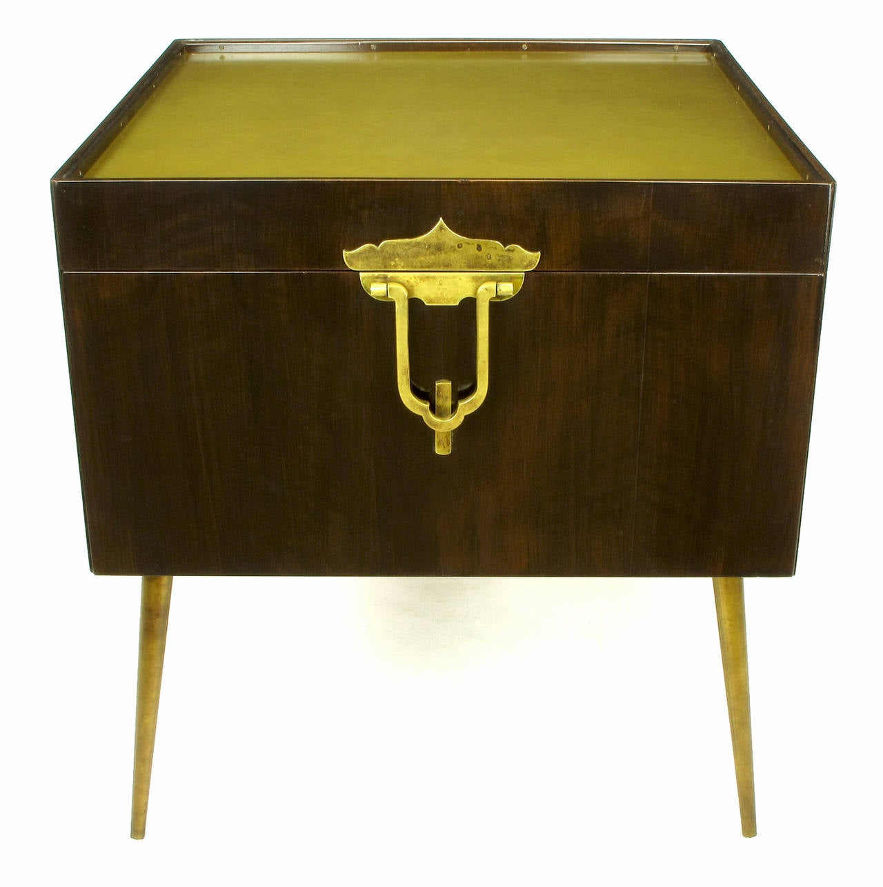 American Bert England Orientation Group Walnut and Brass Bar Cabinet for John Widdicomb For Sale
