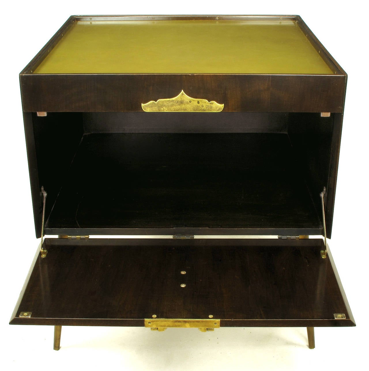 Anodized Bert England Orientation Group Walnut and Brass Bar Cabinet for John Widdicomb For Sale