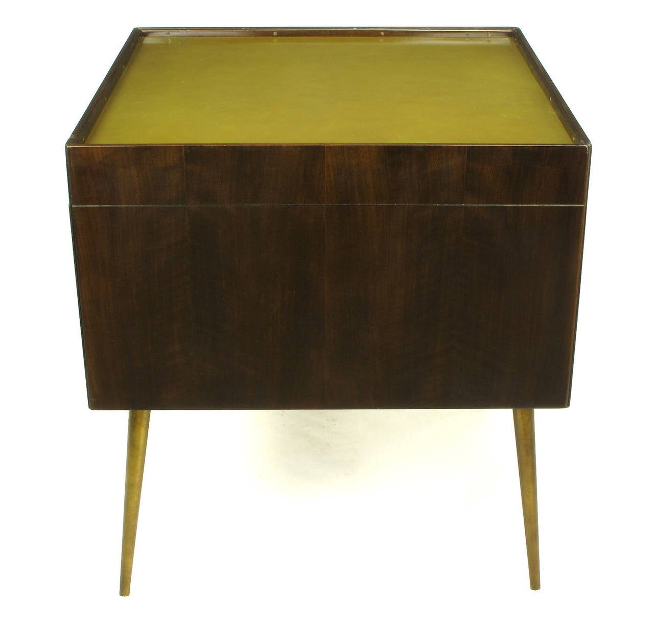 Bert England Orientation Group Walnut and Brass Bar Cabinet for John Widdicomb In Excellent Condition For Sale In Chicago, IL
