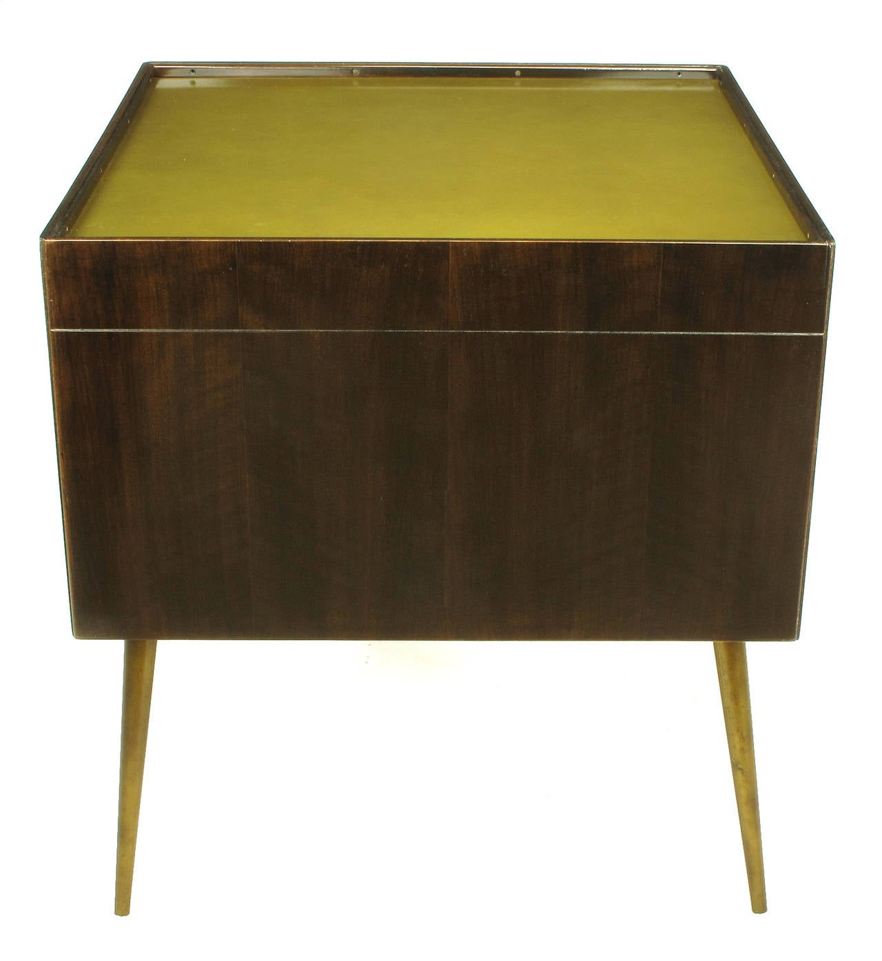 Bert England Orientation Group Walnut and Brass Bar Cabinet for John Widdicomb For Sale 1