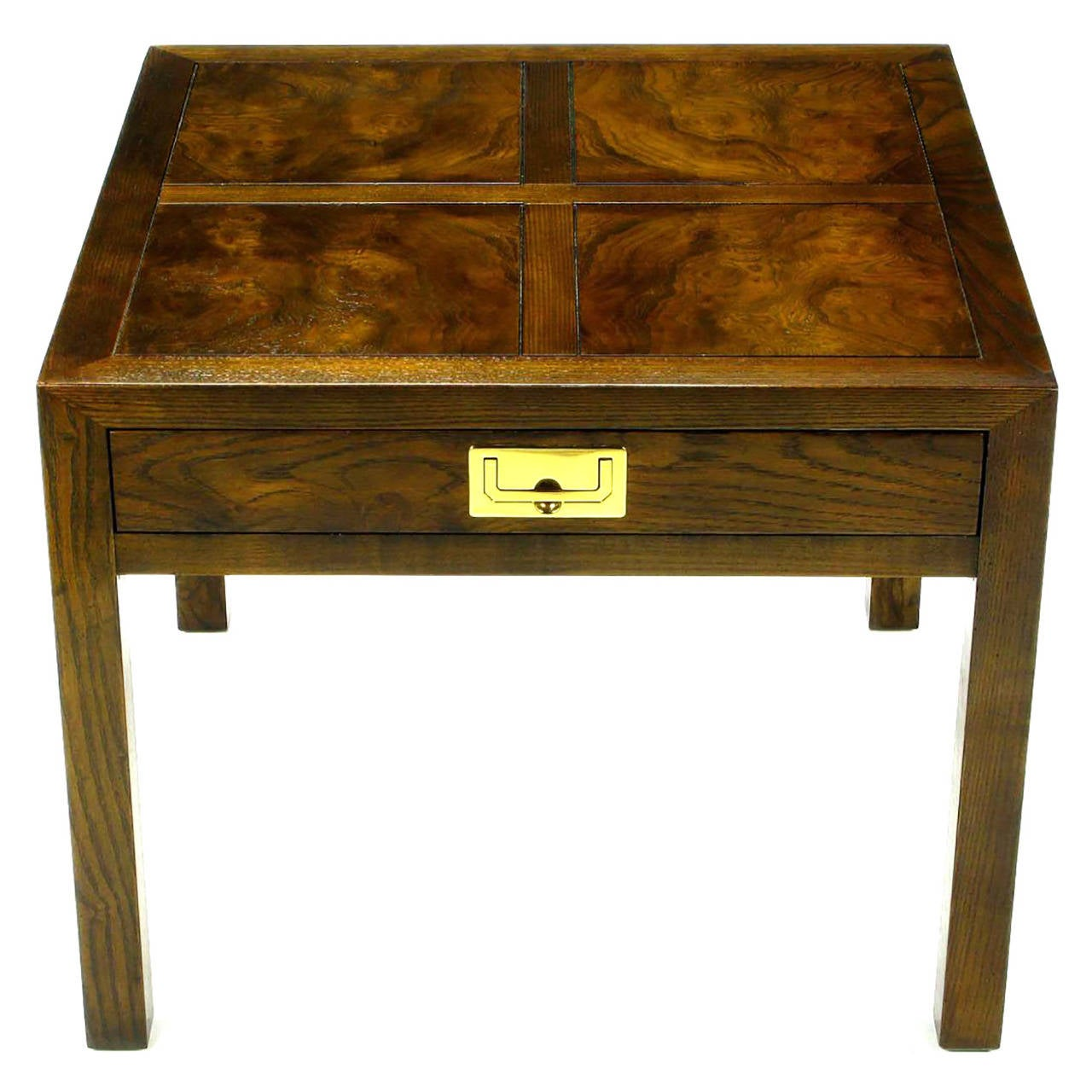 Marvelous Henredon Parquetry Top Burl Walnut Campaign End Table 1