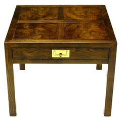 Henredon Parquetry Top Burl Walnut Campaign End Table