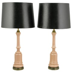 Pair of 1940s Pink Ceramic and Brass Baluster Form Table Lamps