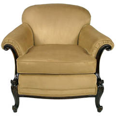 Early 20th Century, Rolled-Arm Club Chair in Ultrasuede