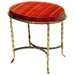Oval Palm Design Bronze and Velvet Stool
