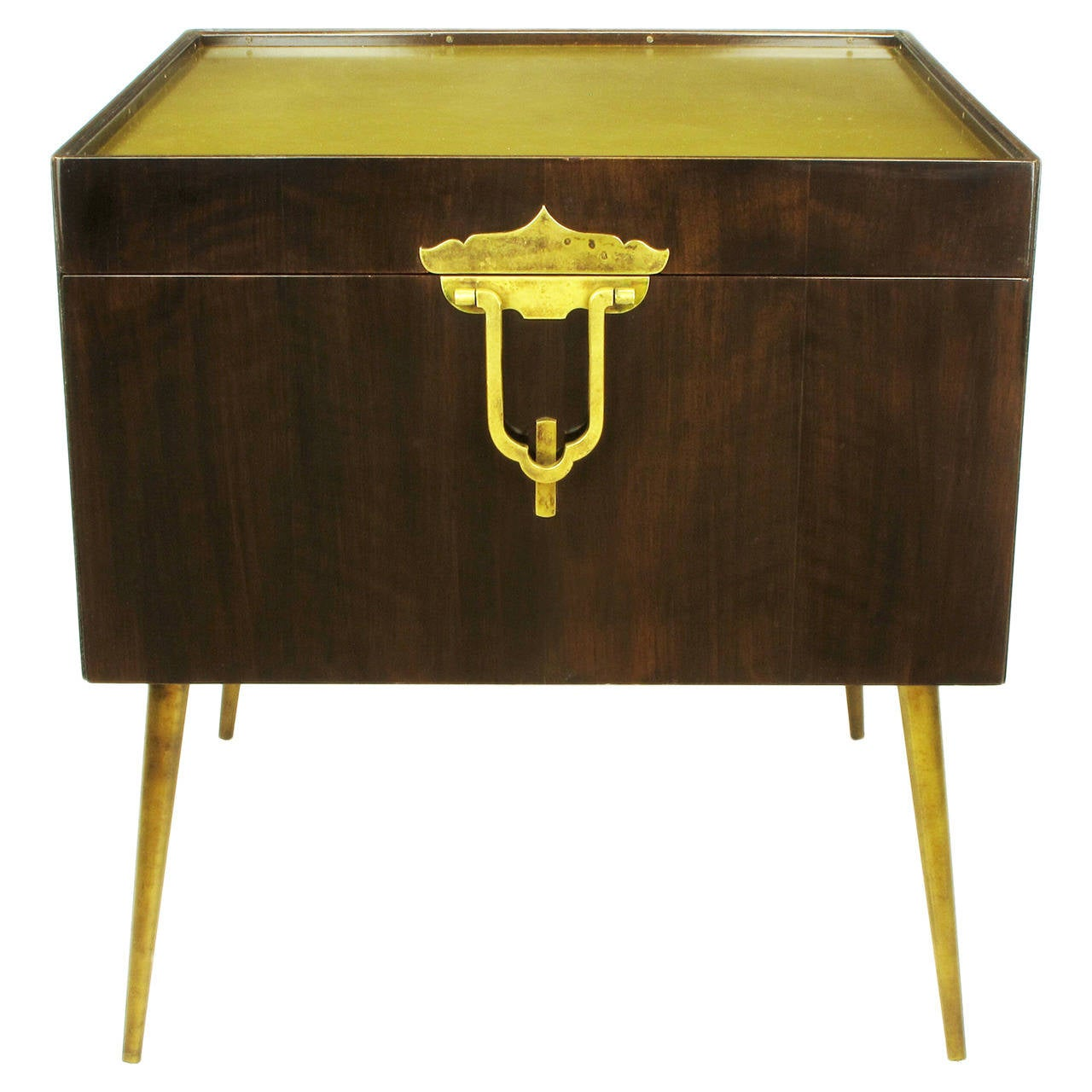 Bert England Orientation Group Walnut and Brass Bar Cabinet for John Widdicomb For Sale