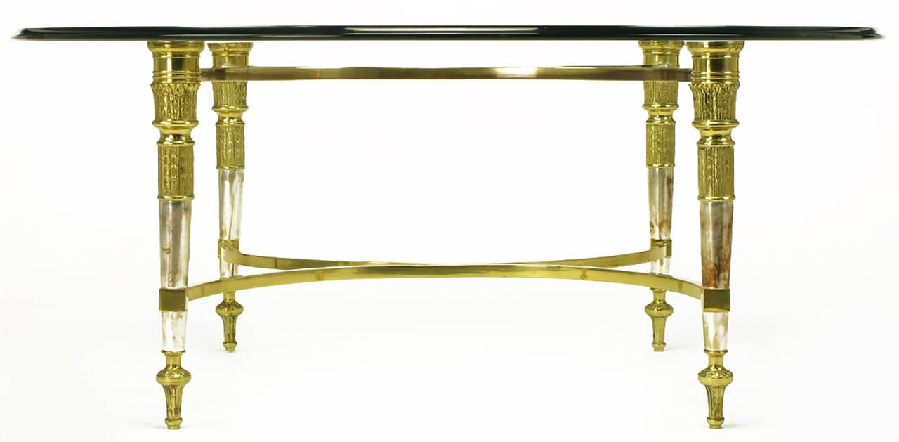 American Brass and Aged Nickel Empire Style Coffee Table For Sale