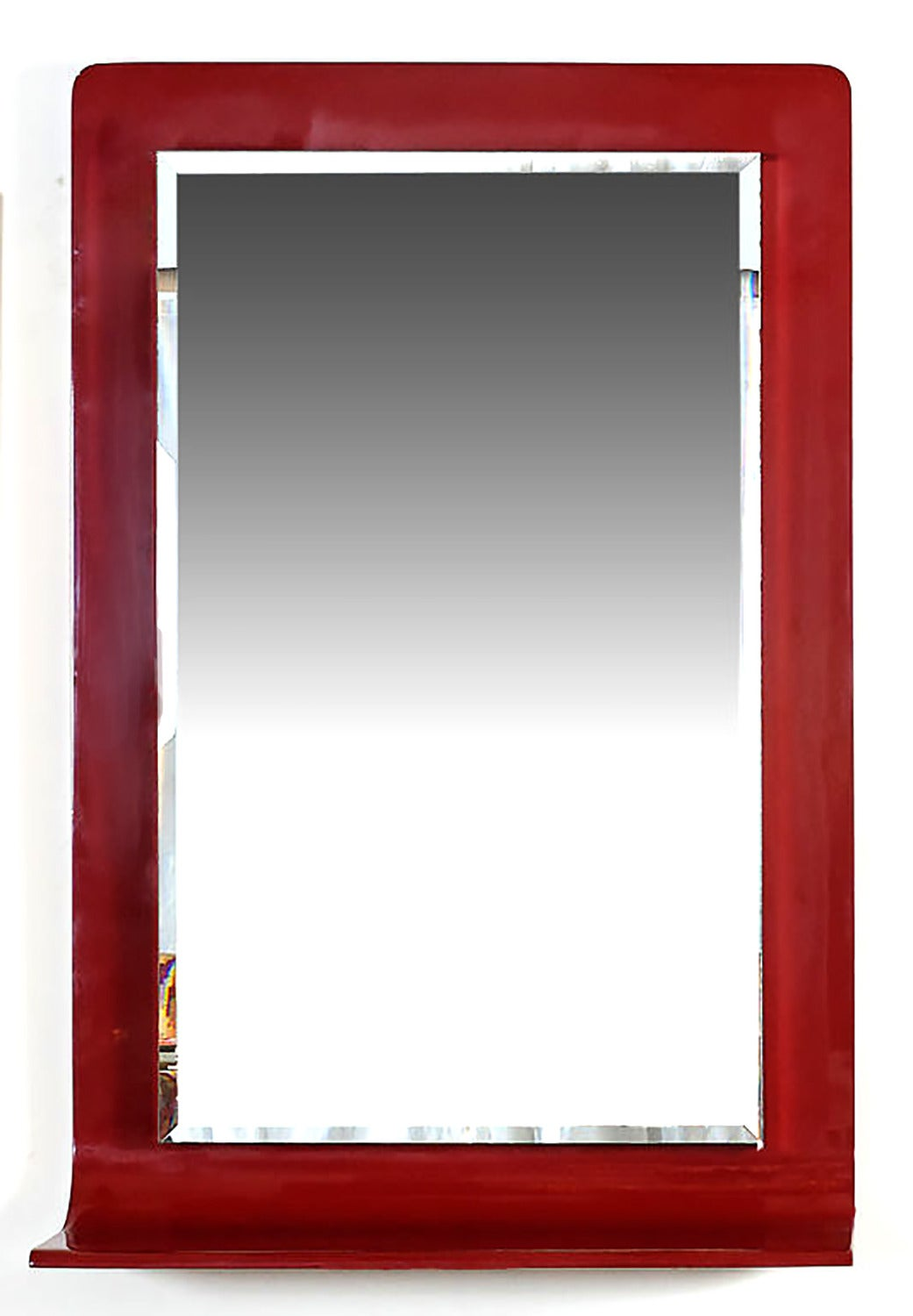 Stunning rectangular lipstick red lacquer mirror by New York maker, Gampel-Stoll. Bottom of wooden frame curves from vertical to horizontal, creating a console shelf. Bevelled mirror, on projecting backing plate with mirrored sides, is float mounted
