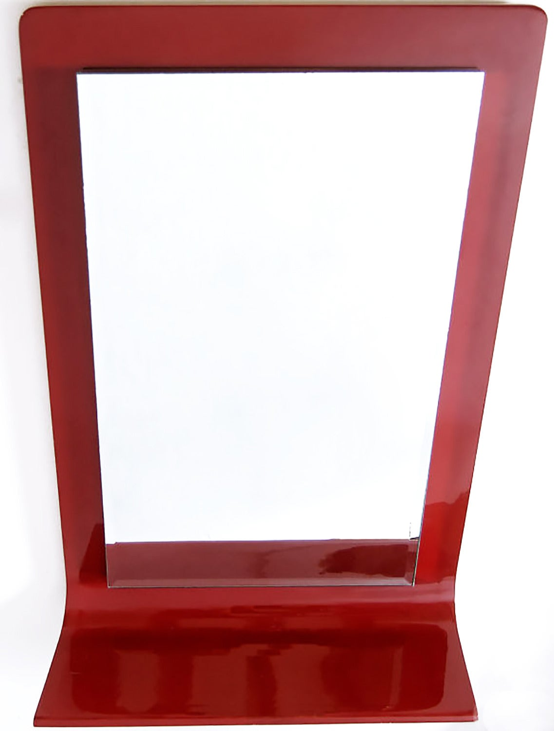 American Gampel-Stoll Red Lacquered Wall Mirror with Integral Console For Sale