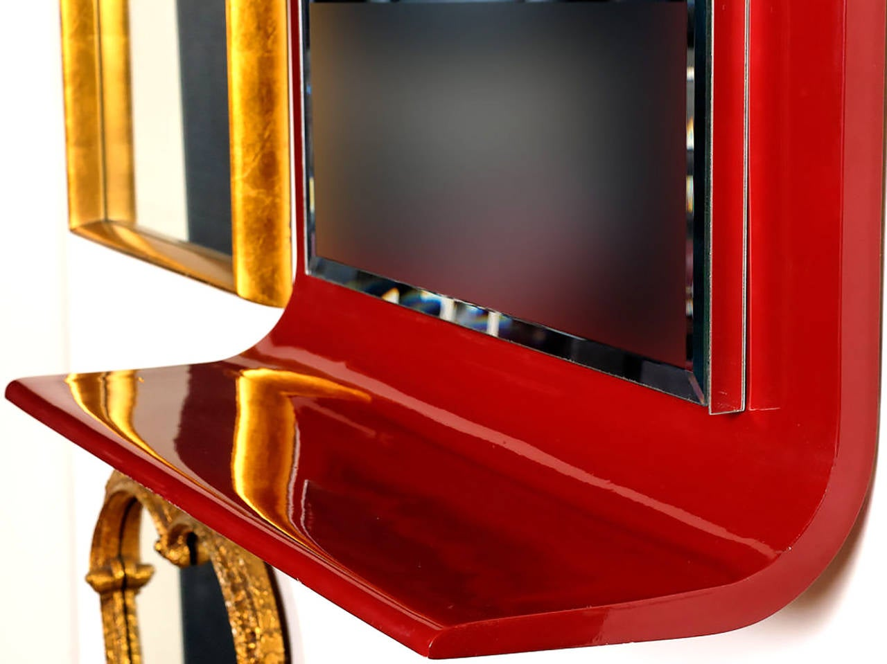 Gampel-Stoll Red Lacquered Wall Mirror with Integral Console In Excellent Condition For Sale In Chicago, IL