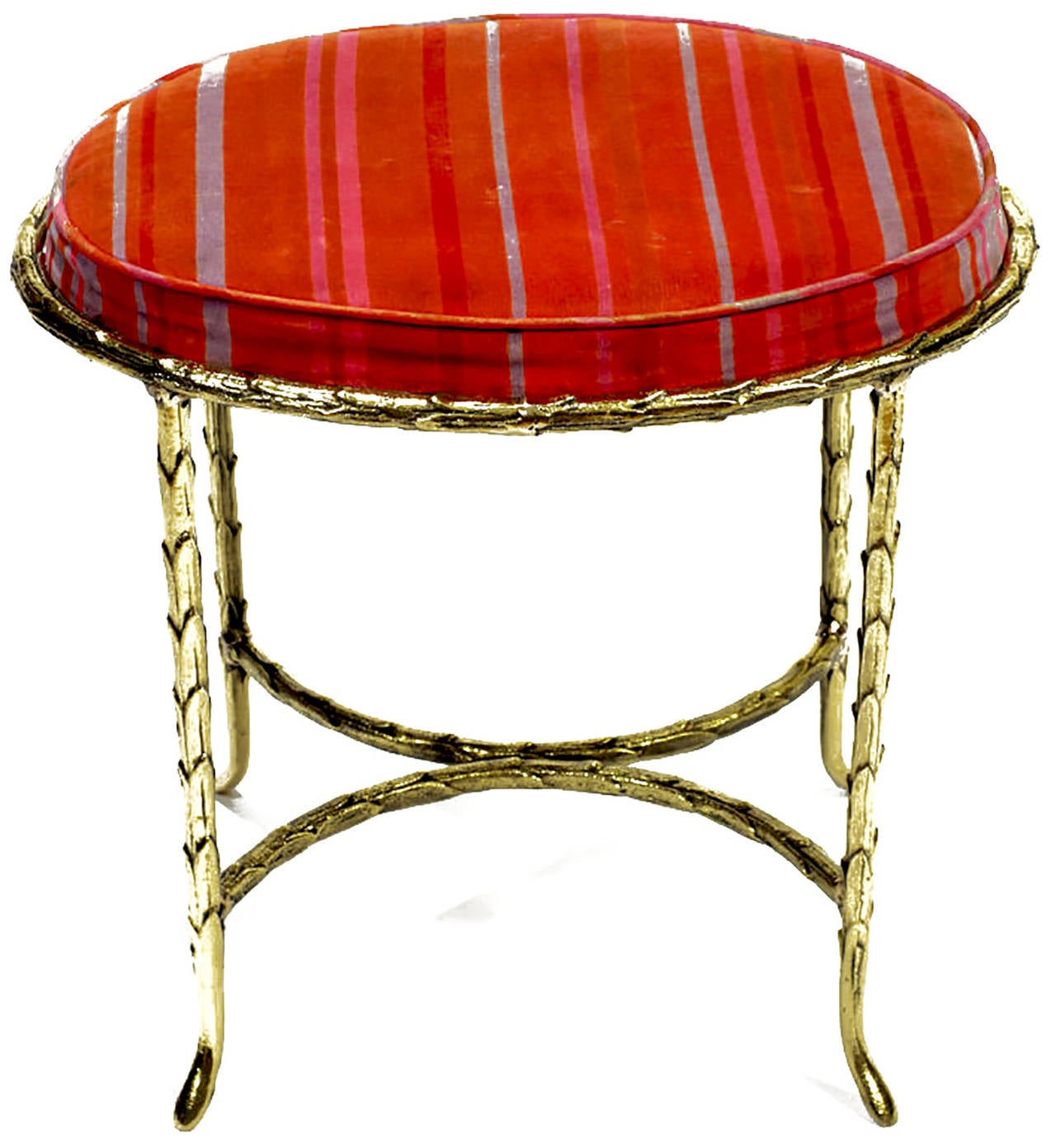 Oval Palm Design Bronze and Velvet Stool  2