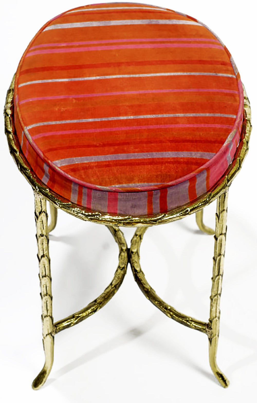 Oval Palm Design Bronze and Velvet Stool  3