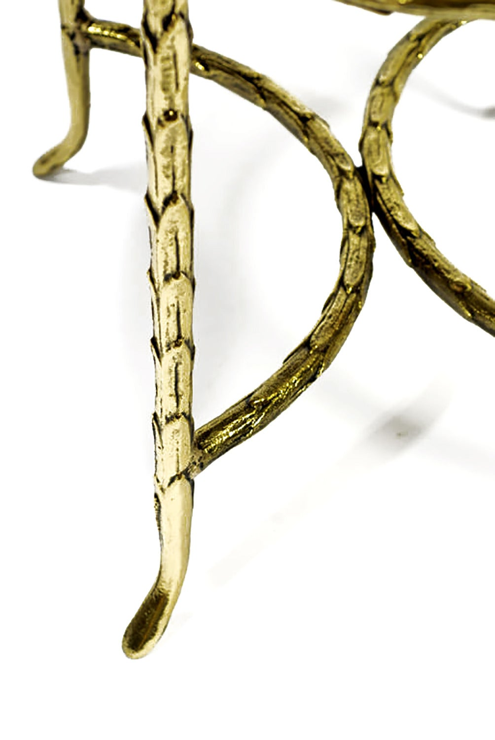 Oval Palm Design Bronze and Velvet Stool  6